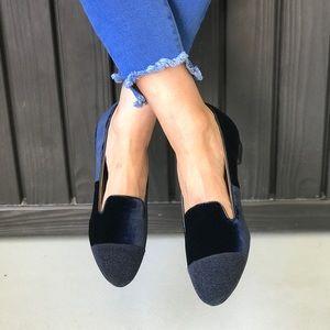 Glimmering Cap Toe Plush Velvet Espadrille Loafer